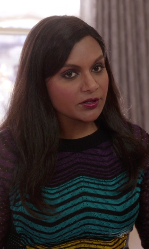 Mindy Kaling with M Missoni Crochet Knit Dress in The Mindy Project