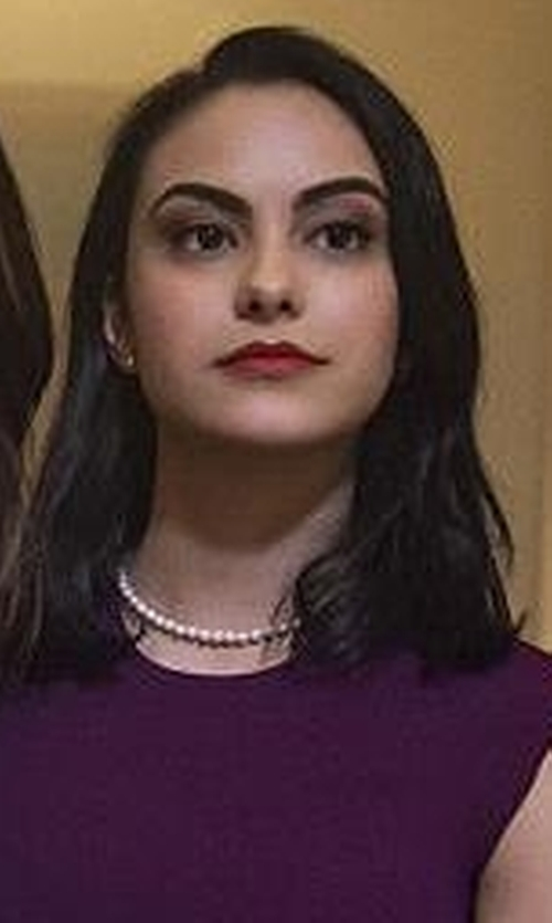 Camila Mendes with Adriana Orsini Faux-Pearl Single Strand Necklace in Riverdale