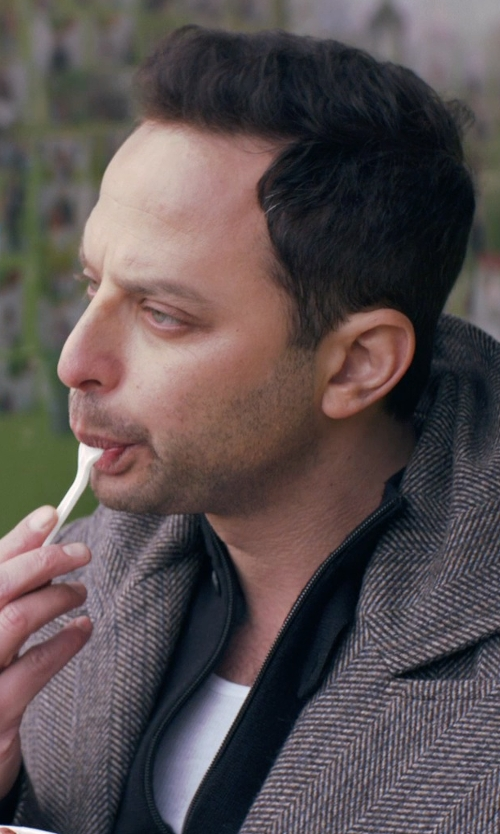 Nick Kroll with Alexander Wang White Pima Cotton Pocket Tank in Adult Beginners