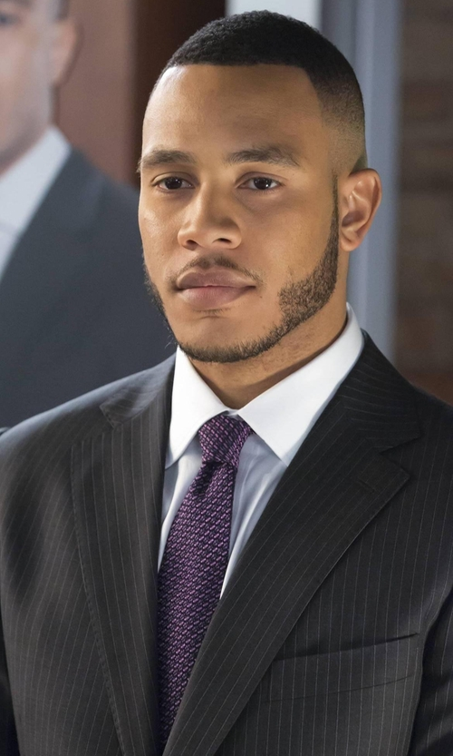 Trai Byers with Stefano Ricci Basketweave-Pattern Silk Tie in Empire