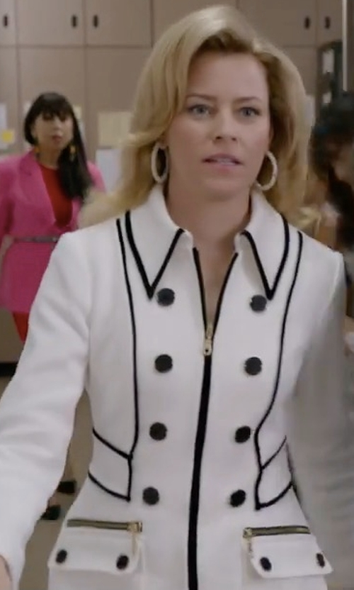 Elizabeth Banks with Calvin Klein Pipe Colorblocked Jacket in Wet Hot American Summer: Ten Years Later
