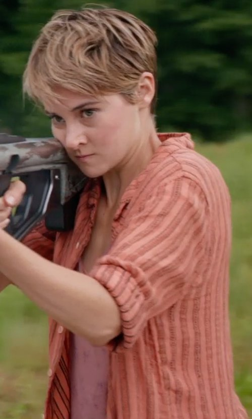 Shailene Woodley with Free People Stripe Ruffle Hem Button Down Shirt in The Divergent Series: Insurgent