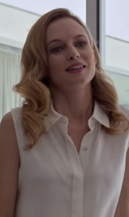Heather Graham with Ming Wang Sleeveless Blouse in Flaked