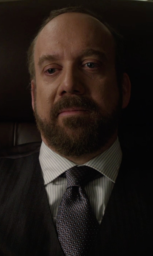 Paul Giamatti with Saks Fifth Avenue Collection Bridge Striped Cotton Dress Shirt in Billions