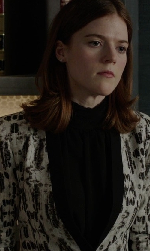 Rose Leslie with Carolina Herrera Splatter-Print Peplum Jacket in The Good Fight