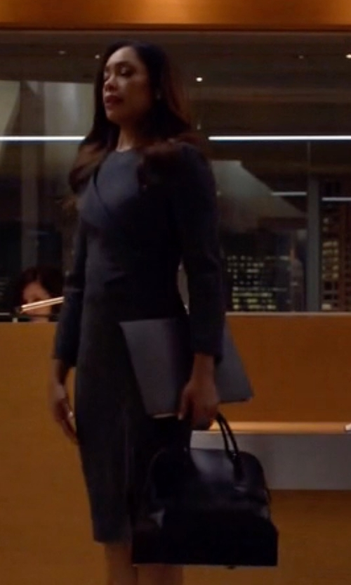 Gina Torres with Hermes Vintage Hermès Bolide Black Box Leather Bag in Suits