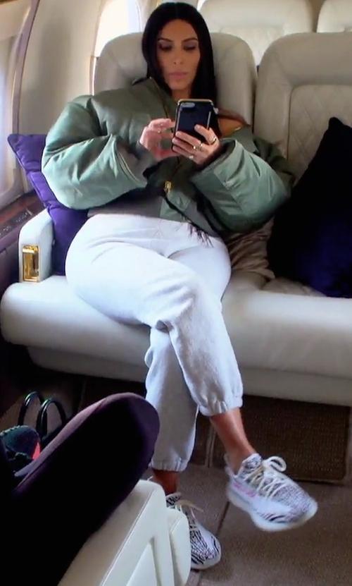 "Kim Kardashian West with Adidas Yeezy Boost 350 V2 ""Zebra"" Sneakers in Keeping Up With The Kardashians"