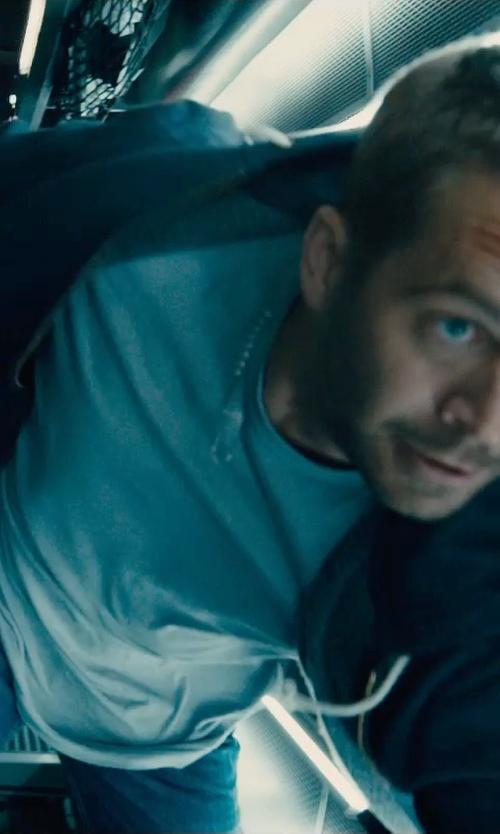 Paul Walker with Melinda Gloss Crew Neck T-Shirt in Furious 7