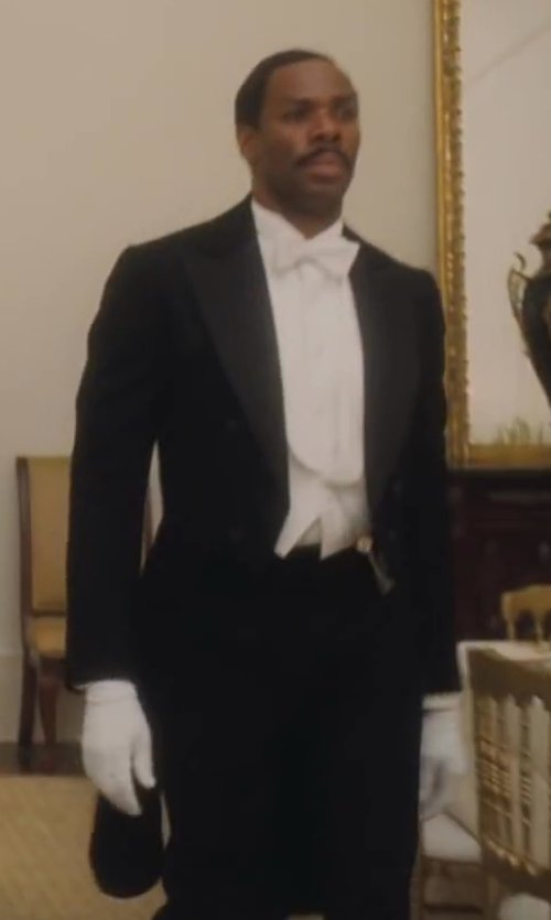 Colman Domingo with Cardi Men's 6 Button Peak Satin Lapel Tail Coat Tuxedo in Lee Daniels' The Butler