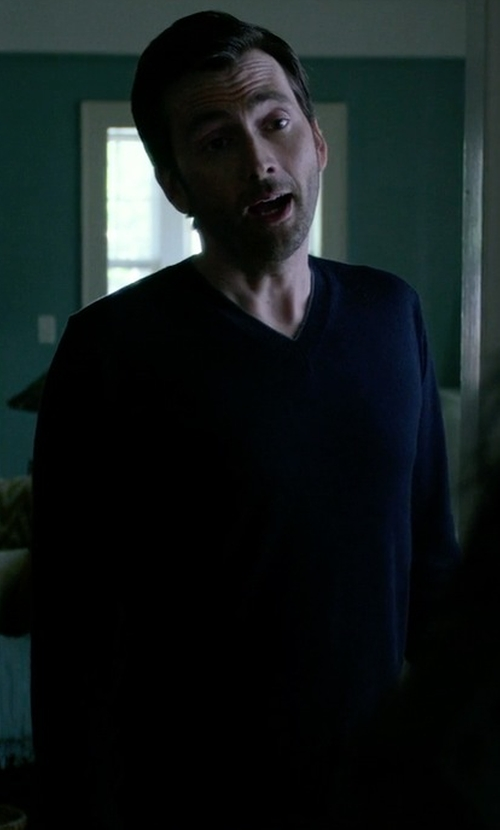 David Tennant with Peter Millar Merino Wool V-Neck Sweater in Jessica Jones