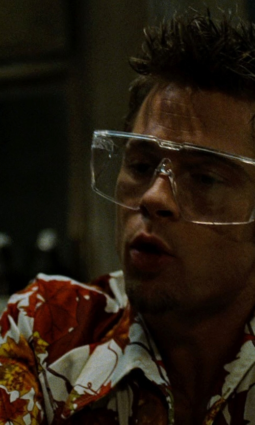 Brad Pitt with Woolrich Bruce Short-Sleeved Shirt in Fight Club