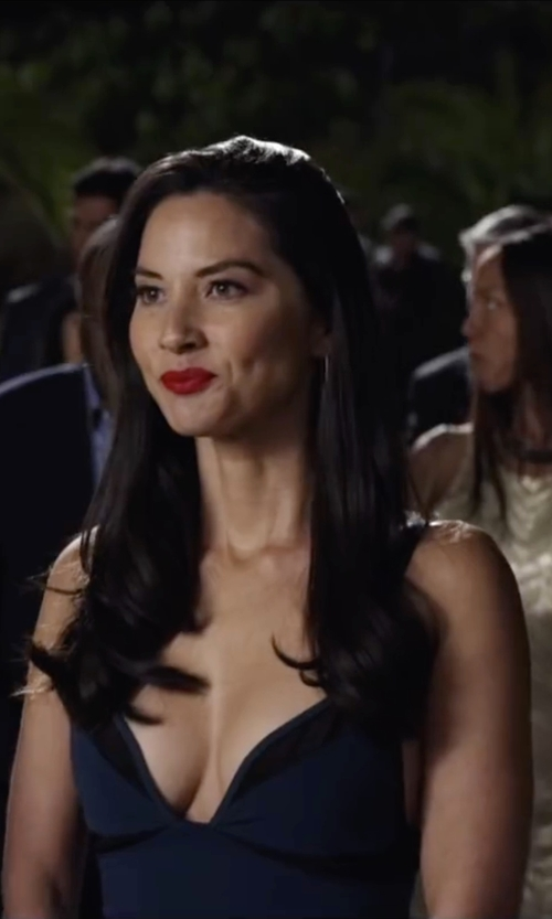 Olivia Munn with La Femme Sleeveless V-Neck Lace Illusion Gown in Ride Along 2