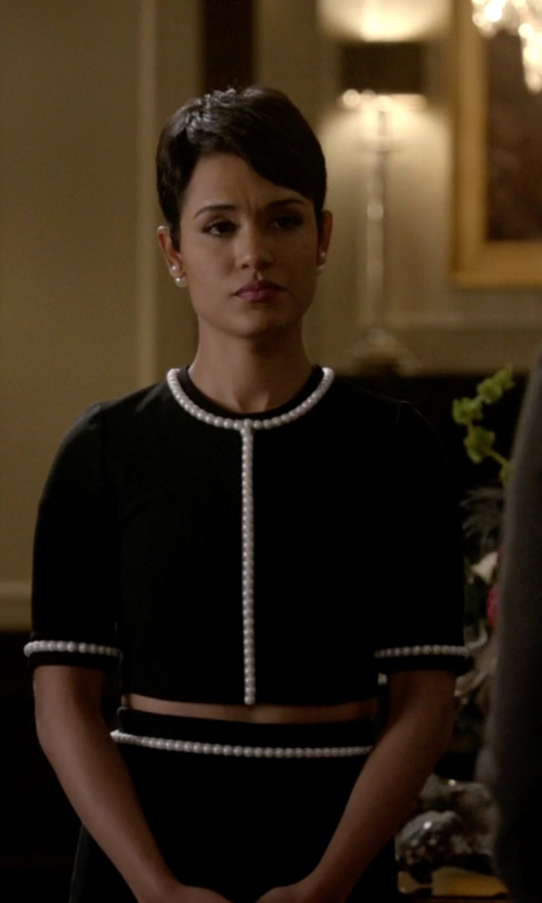 Grace Gealey with Mugler Pearl Embellished Cropped Top in Empire