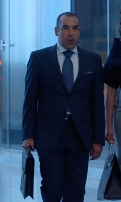 Rick Hoffman with Royce Leather Luxury Slim Briefcase In Saffiano Leather With Suede Lining in Suits