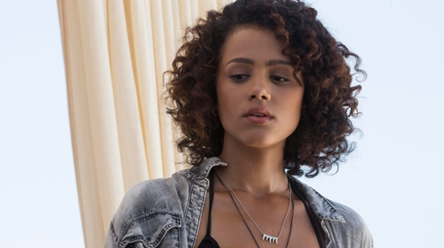 Nathalie Emmanuel with Freedom at Topshop Spike Pendant And Chain Necklace in Furious 7