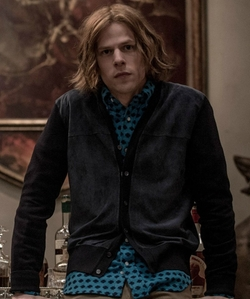 Jesse Eisenberg with Paul Smith Jeans Pow Print Slim Fit Button Down Shirt in Batman v Superman: Dawn of Justice