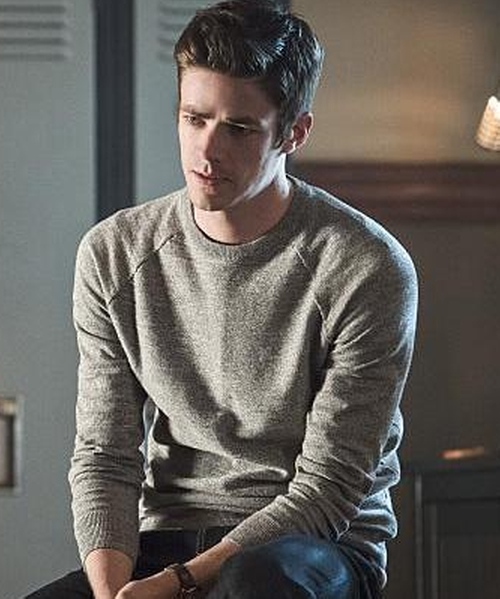 Grant Gustin with J.Crew Slim Rugged Cotton Sweater in The Flash