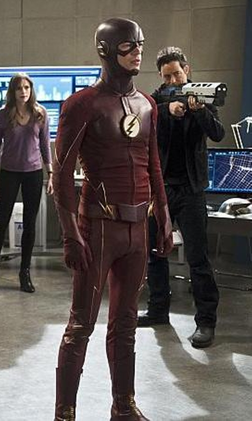 Grant Gustin with Kate Main (Costume Designer) Custom Made 'The Flash' Costume in Supergirl