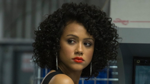 Nathalie Emmanuel with Alexis Bittar Fine Diamond & Sterling Silver Drop Earrings in Furious 7