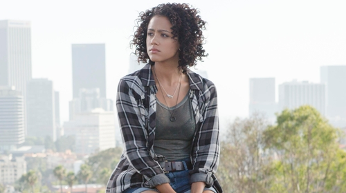 Nathalie Emmanuel with Rails Kendra Tencel Button Down Shirt in Black and Grey in Furious 7