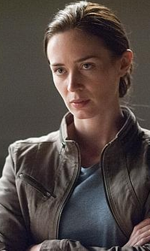 Emily Blunt with Express Seamed Twill Cuffed Sleeve Moto Jacket in Sicario