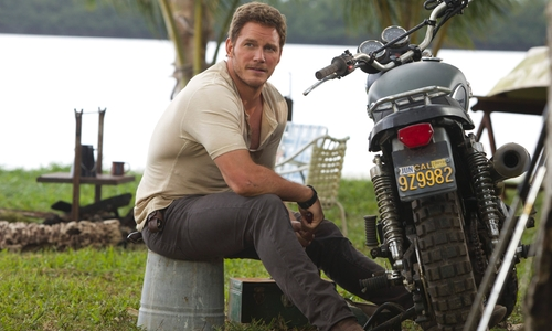 Chris Pratt with J. Brand Kane Industrial Jeans in Jurassic World