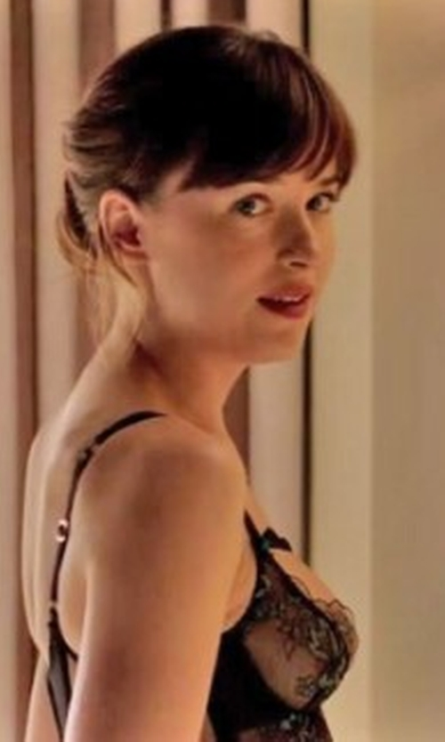 Dakota Johnson with Agent Provocateur Embroidered Callie Basque in Fifty Shades Darker