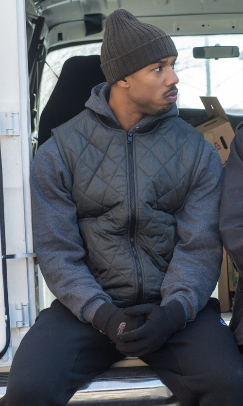 Michael B. Jordan with Nike Downtown 550 Full-Zip Vest in Creed