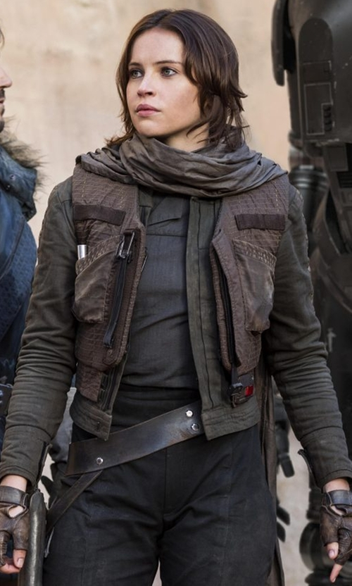 Felicity Jones with Columbia Jyn Erso Rebel Jacket in Rogue One: A Star Wars Story