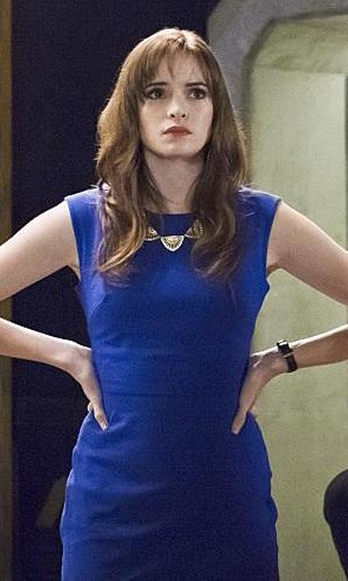 Danielle Panabaker with Banana Republic Blue Sloan-Fit Cobalt Cross-Front Sheath Dress in The Flash