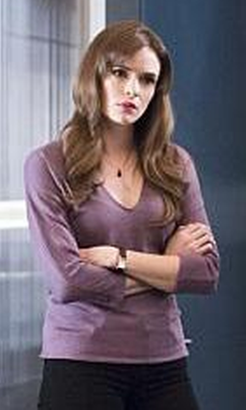 Danielle Panabaker with Splendid  Women's Slub V-Neck Long Sleeve Tunic Top in The Flash