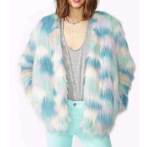 Multicolor Fantasy Faux Fur Coat by Nasty Gal in Scream Queens - Season 2 Episode 1