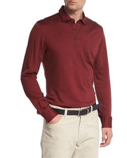 Herringbone Long-Sleeve Polo Shirt by Ermenegildo Zegna in Jason Bourne