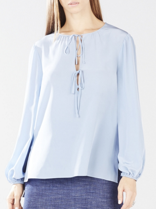Evanna Double-Tie Peasant Blouse by BCBGMAXAZRIA in Rosewood