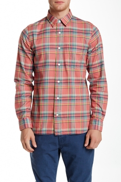Sanford Plaid Long Sleeve Modern Fit Shirt  by Jack Spade  in New Girl