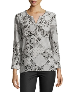 Nepal Silk Tile-Print Blouse by Joie in New Girl