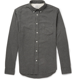 Isherwood Button-Down Collar Cotton-Flannel Shirt by Acne Studios in Life
