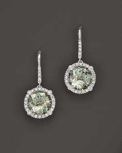 18k White Gold And Prasiolite Drop Earrings With Diamonds by Roberto Coin in Suits