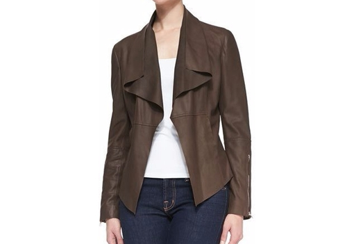 Leather Drape-Front Jacket by Neiman Marcus in Pretty Little Liars - Season 7 Episode 7