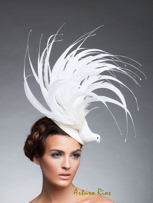 Off White Bird Fascinator Headpiece by Arturo Rios in American Horror Story
