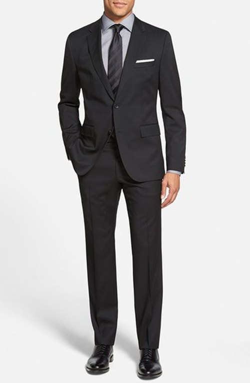 'Johnstons/Lennon' Trim Fit Wool Suit by Boss in Black Mass
