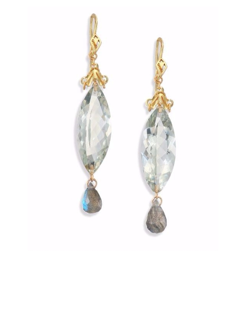 Amethyst, Labradorite & Gold Drop Earrings by Anthony Camargo in How To Get Away With Murder - Season 2 Episode 15