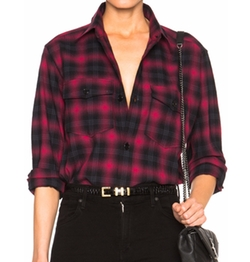 Plaid Tartan Oversize Shirt by Saint Laurent in Keeping Up With The Kardashians