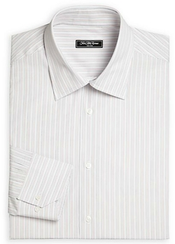 Bridge Striped Cotton Dress Shirt by Saks Fifth Avenue Collection in Black Mass