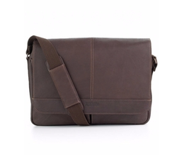 Colombian Leather Gusset Messenger Bag by Kenneth Cole Reaction in Into the Forest