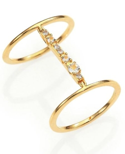 Kiki White Topaz Double-Band Ring by Elizabeth And James in Ballers