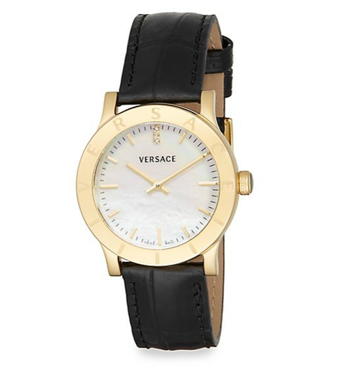 Acron Mother-Of-Pearl  Leather Watch by Versace in Billions - Season 1 Episode 12