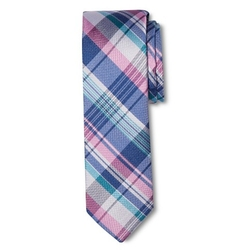 Men's Pink and Purple Plaid Tie by Merona in Black-ish