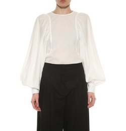 Satin Back Crepe Shirt by Celine in Empire