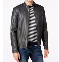 Faux-Leather Moto Jacket by Calvin Klein in Lethal Weapon